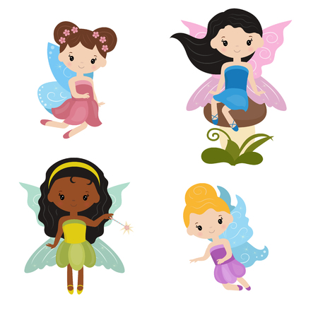 Vector set of cute girl fairies on white background. Fairies made in cartoon style.