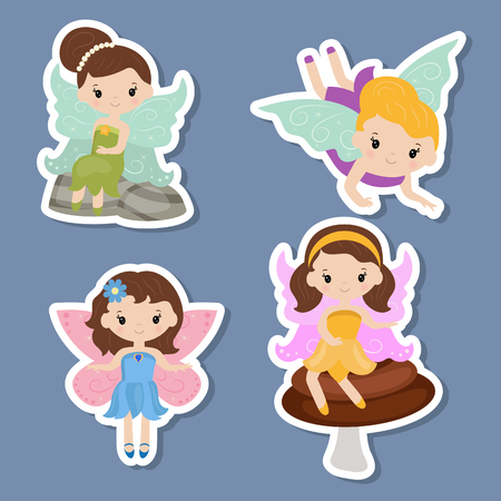 Vector set of fairy stickers. Fairies made in cartoon style.