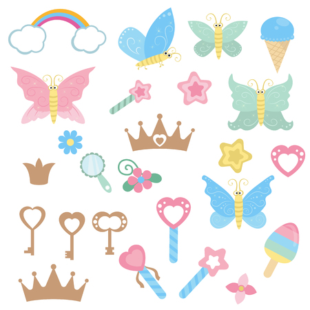 Set of fairy design elements. Fairy theme with magic wand, butterfly and keys. Fairy cartoon icon set.