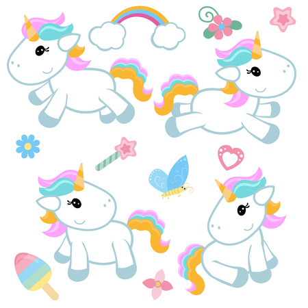 Collection cartoon unicorns. Birthday party elements. White background.