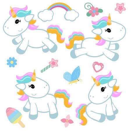 Collection cartoon unicorns. Birthday party elements. White background. Reklamní fotografie - 83960878