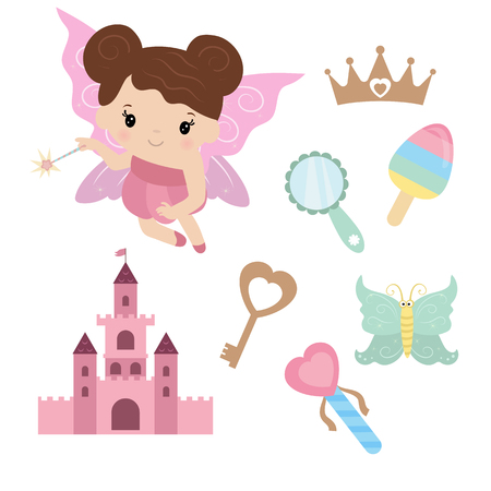 Fairy with magic design elements on white background.
