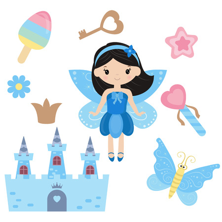 elves: Fairy with magic design elements on white background.
