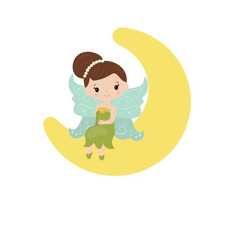 elves: Illustration with cartoon fairy sitting on the moon. Illustration