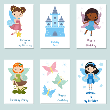 Set of beautiful birthday invitation cards decorated with beautiful fairies.