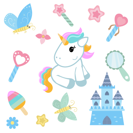 Cute magic collection with unicorn, rainbow and butterflies. White background. Illustration