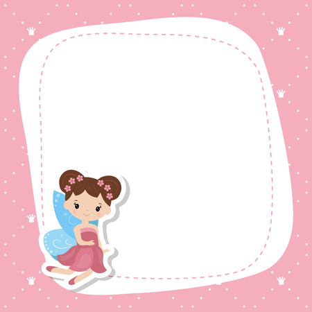 Greeting card with cute fairy. Vector background.
