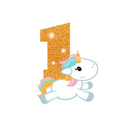Gold glittering number one. Birthday anniversary number with cute unicorn. Illustration