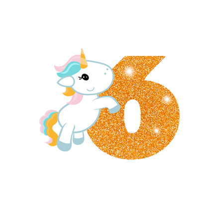 event party: Gold glittering number six. Birthday anniversary number with cute unicorn. Birthday template with unicorn for greeting cards, invitations.