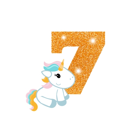 Gold glittering number seven. Birthday anniversary number with cute unicorn. Birthday template with unicorn for greeting cards, invitations. Illustration