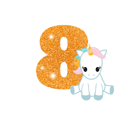 Gold glittering number eight. Birthday anniversary number with cute unicorn. Birthday template with unicorn for greeting cards, invitations.