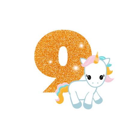 Gold glittering number nine. Birthday anniversary number with cute unicorn. Birthday template with unicorn for greeting cards, invitations.