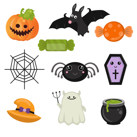 spider web: Halloween symbols collection on a white background. Happy Halloween.