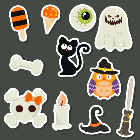 owl illustration: Halloween symbols collection. Happy Halloween. Collection of beautiful halloween stickers.
