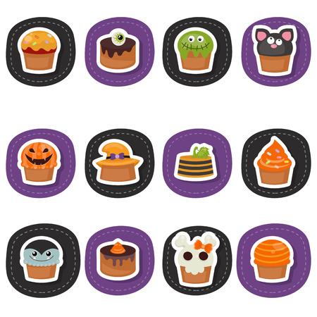 Set of Halloween Cupcakes on white background. Happy Halloween. Illustration