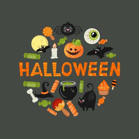 Halloween symbols collection on a black background. Illustration