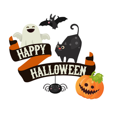 Happy Halloween poster. Halloween background. Illustration for party invitation, greeting card, web design.