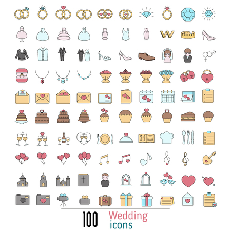 Set of wedding icon. Can be used in wedding invitation design, cards, websites and etc.