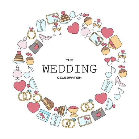 Wedding vector background with wedding icons in thin line style. Can be used in wedding invitation design, cards, websites and etc.