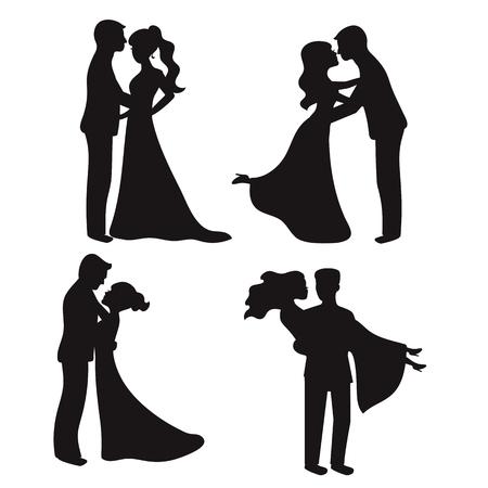 Ensemble de silhouettes de vecteur. Mariée et le marié. Couples de mariage