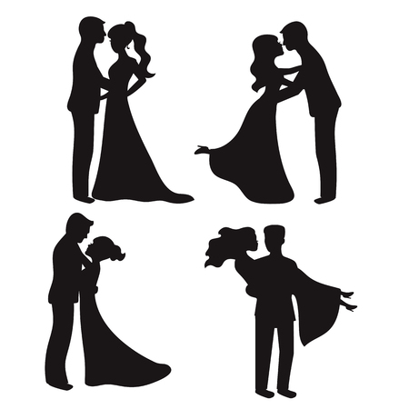 Set of vector silhouettes. Bride and groom. Wedding couples.