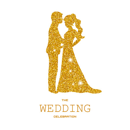 Silhouette of wedding couple with dust glitters. White background.