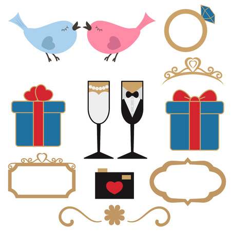 Vector collection of wedding objects and icons. Set of holiday decoration elements. Illustration