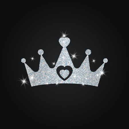 royal person: Silhouette of crown with dust glitters. Black background.
