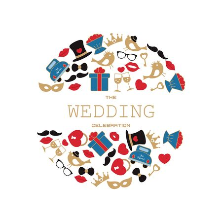 Wedding vector background with wedding objects and icons. Can be used in wedding invitation design, cards, websites and etc.