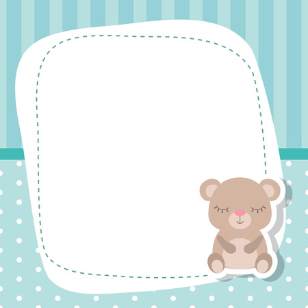 kids birthday party: Greeting card with cute bear. Baby boy card Vector background.