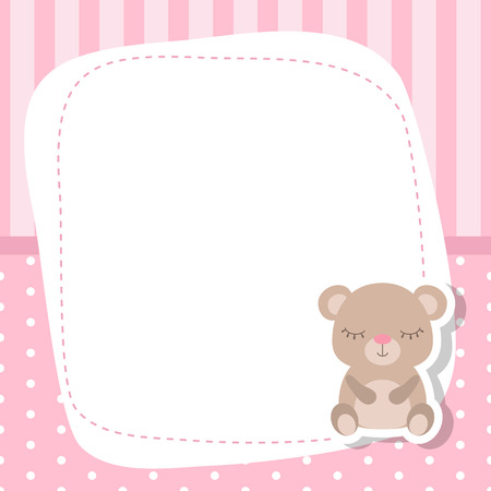 kids birthday party: Greeting card with cute bear. Baby girl card Vector background. Illustration