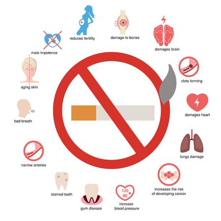 健康・医療分野のインフォ グラフィック。どのようにあなたの体が喫煙の影響を与えます。