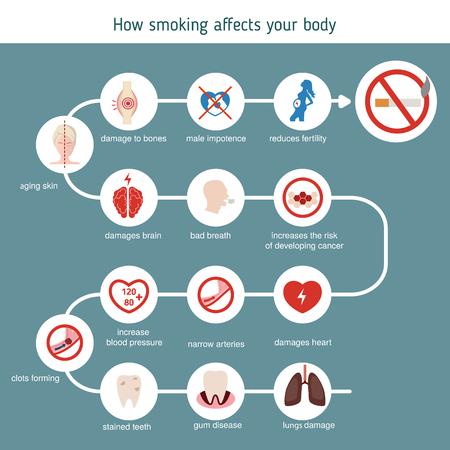 Santé et soins de santé infographique. Comment le tabagisme affecte votre corps.