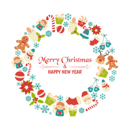 Christmas greeting card with christmas icons. Set of Christmas and New Year elements.