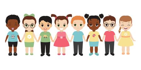 Groupe d'enfants heureux, main dans la main. Isolé sur fond blanc Vecteurs