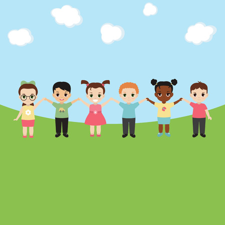 Group of happy children holding hands. Background with sun and clouds.