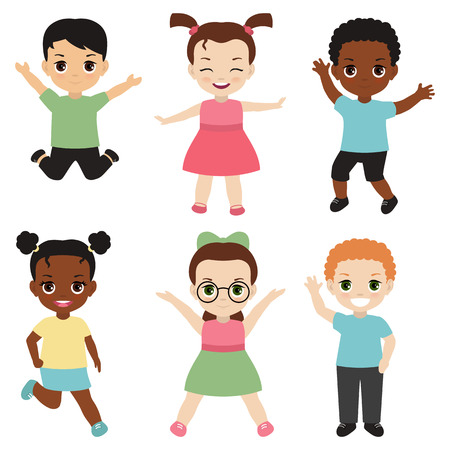 Set of different kids. Isolated on white background.