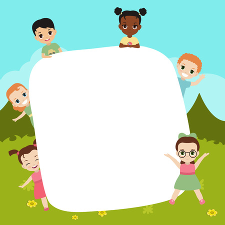 Group of happy children with large sheet of paper