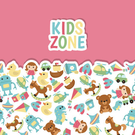 Background with children toys. Vector concept in flat style