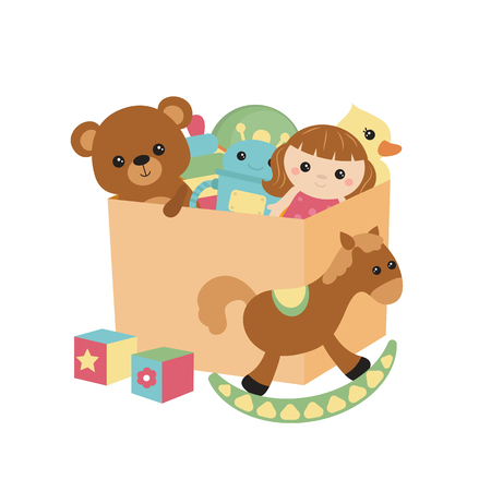 Children toy box isolated on white background, vector illustration.
