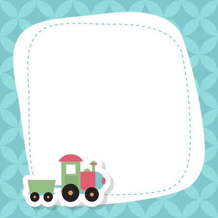 Greeting card with cute toy train. Vector background.