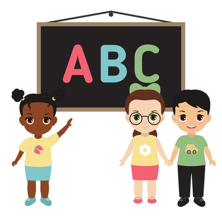 Back to school theme with kids and board illustration