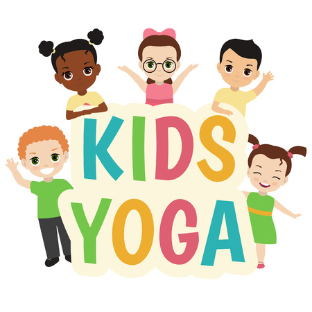 Kids yoga design concept with group of children.