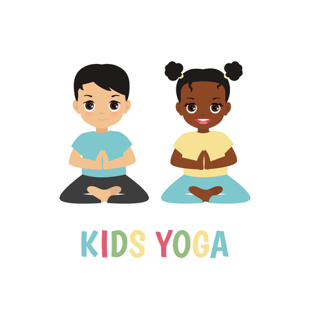 Kids yoga design concept with boy and girl in yoga positions. Vectores