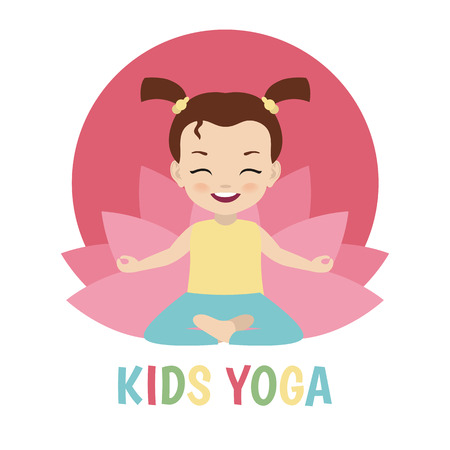 Kids yoga design concept with girl in yoga position.