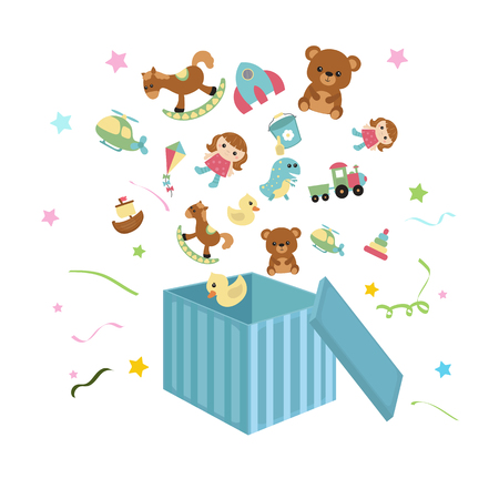 Open box with toys icons flying out. Whitw background.