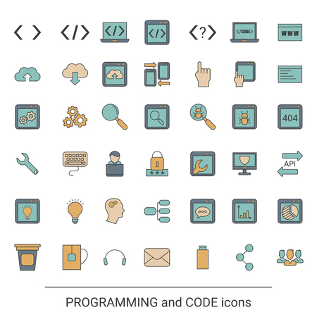 Code and programming icons in thin line style.