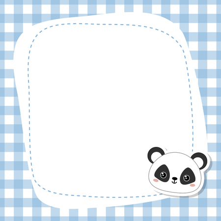 Greeting card with cute panda face. Vector background.