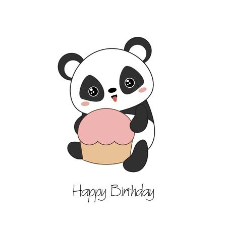 Panda bear illustration. Panda holds cake. Valentines Day.