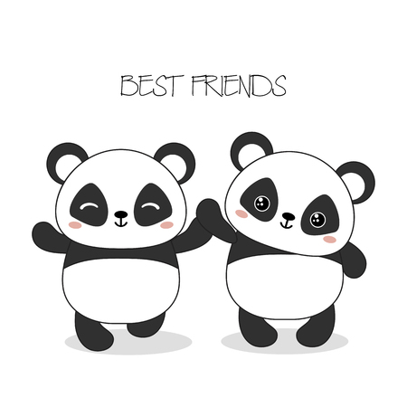 Vector illustration with two pandas. Best friends. Valentine's Day.